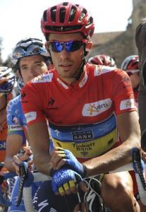 Spanish cyclist Alberto Contador from the Saxo Bank Team prepares to start the 18th stage of the Spanish Vuelta cycling race near Aguilar de Campo, Spain, Thursday, Sept. 6, 2012.