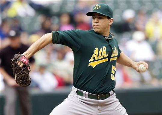 Oakland Athletics starter Tommy Milone delivers a pitch during the second inning of a baseball game against the Seattle Mariners in Seattle, Sunday, Sept. 9, 2012.