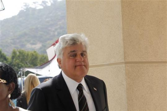 Jay Leno arrives at the Michael Clarke Duncan Memorial Service at Forest Lawn Memorial-Park and Mortuaries in the Hollywood Hills section of Los Angeles, Monday, September 10, 2012.