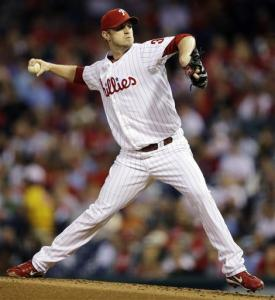 Philadelphia Phillies' Kyle Kendrick pitches in the second inning of a baseball game against the Miami Marlins, Monday, Sept. 10, 2012, in Philadelphia.