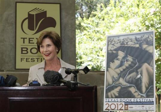 Former first lady Laura Bush speaks at a announcement of the lineup for the 2012 Texas Book festival Wednesday, Sept. 12, 2012, at her home in the Preston Hollow section of Dallas. Bush, who founded the festival when she was first lady of Texas, also unveiled this year's book festival poster for the annual event in Austin.