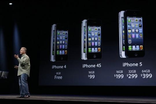 Phil Schiller, Apple's senior vice president of worldwide marketing, speaks on stage during an introduction of the new iPhone 5 in San Francisco, Wednesday Sept. 12, 2012.