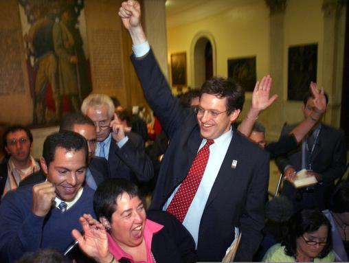 Cheers echoed in the State House when the vote was tallied. At left are Marc Solomon (center), Director of Mass Equality, Patrick Guerrero (left), former mayor of Melrose, and Holly Gunner (bottom), an ACLU board member.