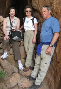 Carol Lielasus, left, Marianne Page, and Dave Atchason explore ruins at Q'engo , near Cusco, Peru.
