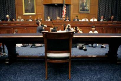 A chair reserved for former White House counsel Harriet Miers sat vacant at a House Judiciary Committee hearing.