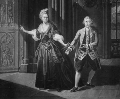A painting of 18th-century English actor David Garrick (right) as Macbeth.
