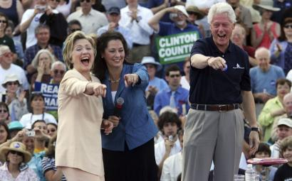 Bill and Hillary Clinton yesterday shared a laugh with state Senator Molly Kelly at a campaign stop in Keene, N.H. The Clintons have campaigned together since 1974.