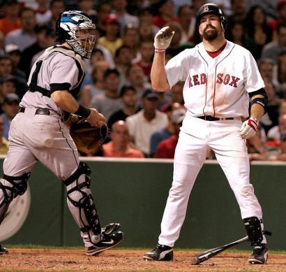 Kevin Youkilis is disgusted with the call as he strikes out looking to end the sixth inning.