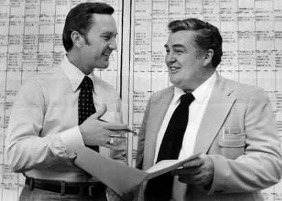 Bucko Kilroy (right) helped deliver coach Chuck Fairbanks one of the most successful drafts in Patriots history in 1973.