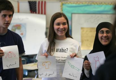 From left, Ian Kapuza, Chelsea Durkin, and Sahar Hakim, students at Charlestown Arabic Summer Academy, displayed drawings of everyday items and their names in Arabic. The program teaches students Arabic and Middle Eastern history.