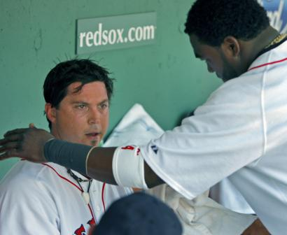 David Ortiz offers Josh Beckett support in the dugout, but the offense didn't help on the field.