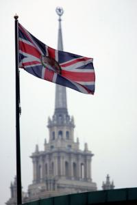 The British flag flies above its embassy in Moscow. Russia has threatened retaliation for the order on its diplomats.