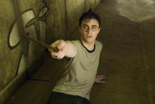 Daniel Radcliffe, as Harry, in a scene from the latest Potter movie, 'Harry Potter and the Order of the Phoenix.' The last book in the series, 'Harry Potter and the Deathly Hallows,' goes on sale in stores tomorrow at one minute past midnight, and many area activities are planned to celebrate.
