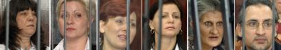 Five Bulgarian nurses and a Palestinian doctor allegedly spread HIV to Libyan children. From left are Valia Georgieva Cherveniashka, Nasia Stoitcheva Nenova, Kristiana Malinova Valcheva, Valentina Manolova Siropulo, Snezhana Ivanova Dimitrova, and Ashraf Ahmad Juma Hajuj.
