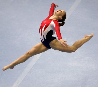 Shawn Johnson runs through her routine in the floor exercise portion of the apparatus finals. The American ran off with gold in the event at Rio de Janeiro.