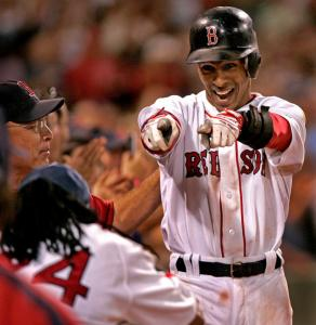 Julio Lugo was having a grand old time after his slam in the eighth inning boosted the Red Sox into a 10-3 lead.