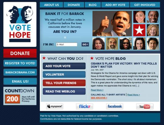 The website for Vote Hope 2008 has the look and feel of Barack Obama's official page, but the group is a political action committee trying to garner votes for Obama in California.