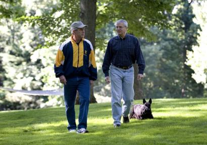 President George Bush and his chief of staff, Josh Bolten, walked with first dog Barney yesterday at Camp David, Md.