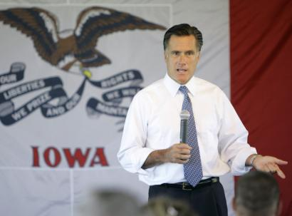 Republican presidential hopeful Mitt Romney spoke to potential supporters yesterday in Forest City, Iowa.