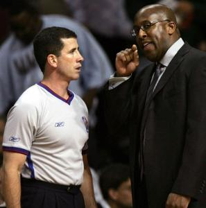 Tim Donaghy and Cavaliers coach Mike Brown discuss a call in April of 2006; the official has more explaining to do these days.