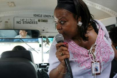 Beauty Turner, a former resident of the Robert Taylor Homes, directed riders' attention to the neighborhood as she led her 'Ghetto Bus Tour' group through Chicago's South Side.