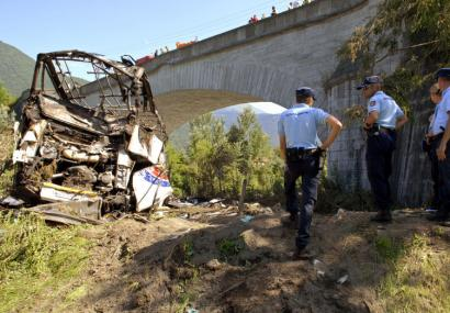 Police stood near the wreckage of a bus transporting Polish pilgrims from the French Alps after it crashed yesterday.