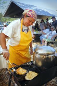Sherry Pocknett cooks at the Wampanoag Pow Wow.