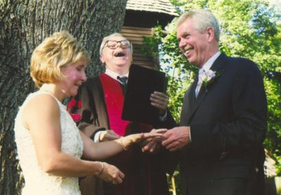 Rev. Richard Kimball, in a lighter moment during the wedding of Kim and Bob Porter.