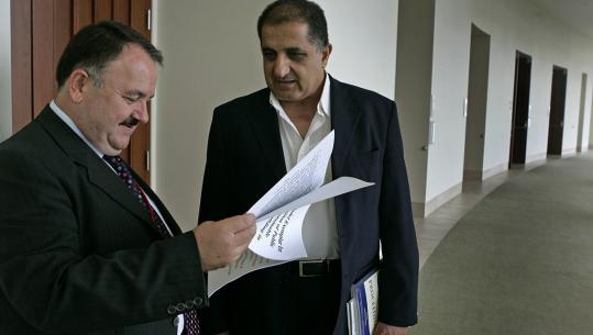 UMass-Boston is holding an international conference on rebuilding sustainable communities in Iraq. Among the participants are Dr. Ahmed Anwar Dezaye (left), general director of scholarships and cultural relations, and Tahir Albakaa, a former minister of higher education, arts, and scientific research and former president of Mustansiriya University in Iraq.