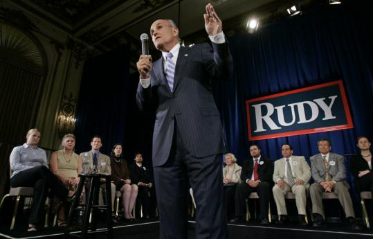 Republican presidential candidate Rudy Giuliani spoke to supporters in San Francisco.