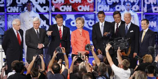 From left, Democratic presidential candidates Mike Gravel, Chris Dodd, John Edwards, Hillary Clinton, Barack Obama, Bill Richardson, Joseph R. Biden Jr., and Dennis Kucinich before last night's debate at The Citadel in Charleston, S.C.