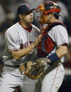A scoreless ninth in a tight game against the Indians is something for Jonathan Papelbon and his catcher, Jason Varitek, to celebrate; Papelbon earned his 23d save of the season.