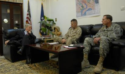 Ambassassador Ryan Crocker (left) met with General Peter Pace and General David Petraeus in Baghdad this month. The diplomat and Petraeus said they would urge Congress to give President Bush's strategy more time.