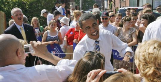 Senator Barack Obama of Illinois greeted the public after he was endorsed by US Representative Paul Hodes yesterday during a campaign stop in Concord, N.H.