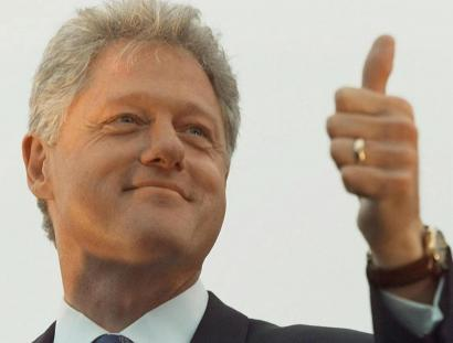 Once Clinton (shown in 1996) 'figured out the way to be president as a Democrat, he became unbeatable,' writes Hamilton.