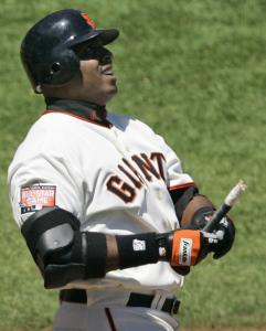 Barry Bonds broke his bat while flying out in the fourth inning against the Marlins but didn't break the home run record.