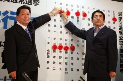 Prime Minister Shinzo Abe (right), vowed to day as Democratic party official, Hidenao Nakagawa, (left) vowed to step down.