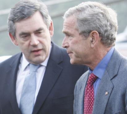 President Bush welcomed Prime Minister Gordon Brown of Britain at Camp David, Md., yesterday.