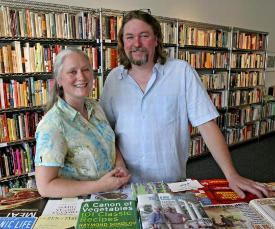 Samantha Hoyt Lindgren and Don Lindgren specialize in rare and hard-to-find cookbooks of their own recommendation at Rabelais Books in Portland, Maine.