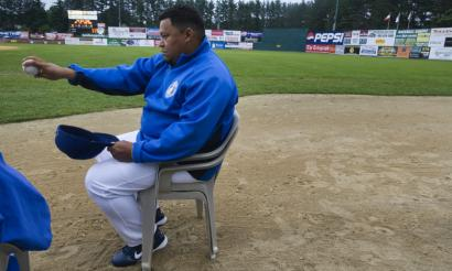 Even while sitting in the bullpen, Rich Garces has been gracious with his young teammates in Nashua, such as showing them how to throw a slider.