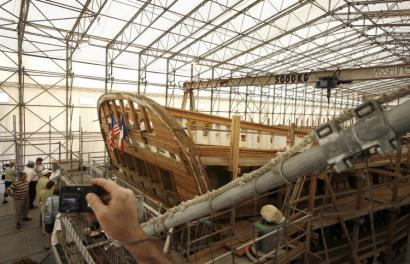To honor the Marquis de Lafayette, Hermione, the frigate that carried the French nobleman to Boston in 1780, is being lovingly re-created in Rochefort, France.