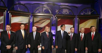 From left, Republican presidential candidates Tommy Thompson, Sam Brownback, John McCain, Rudy Giuliani, Mitt Romney, Mike Huckabee, Ron Paul, and Duncan Hunter gathered yesterday before the debate at Drake University in Des Moines. Not pictured is Tom Tancredo, who urged a political and economic solution to accompany the military strategy in Iraq.