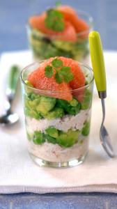 Layers of crabmeat, avocado, and grapefruit make this verrine lovely to look at and to taste.