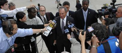 Mayor Michael Bloomberg as he arrived at the state Supreme Court in Manhattan yesterday for jury duty. He was not chosen.