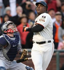 Barry Bonds's quest took no significant twists last night; he was 0 for 3, including this foul pop.