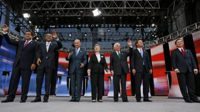 Democratic presidential candidates (from left) Governor Bill Richardson, Senators Barack Obama, Joe Biden, Hillary Clinton, Chris Dodd, former senator John Edwards, and US Representative Dennis Kucinich before yesterday's forum in Chicago.