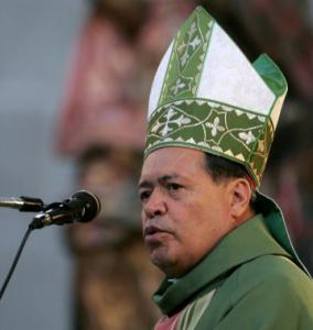 Mexican Cardinal Norberto Rivera, shown Sunday, answered questions yesterday for a US lawsuit alleging abuse by a priest.