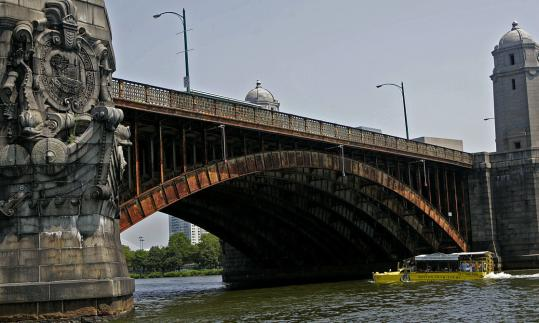 The Longfellow Bridge, which spans the Charles, is one of about two-dozen Massachusetts bridges that are similar in design to the Minneapolis span that collapsed last week.