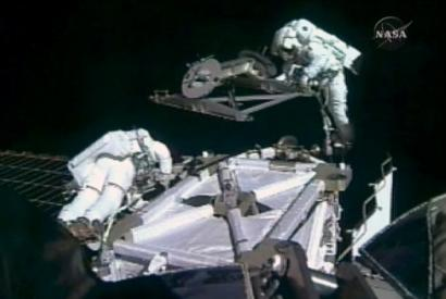 Astronauts Rick Mastracchio (left) and Dave Williams worked on a newly installed beam at the International Space Station.