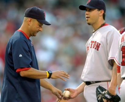 Josh Beckett wasn't happy Terry Francona had to relieve him in the ninth, but overall he was pleased with his outing.